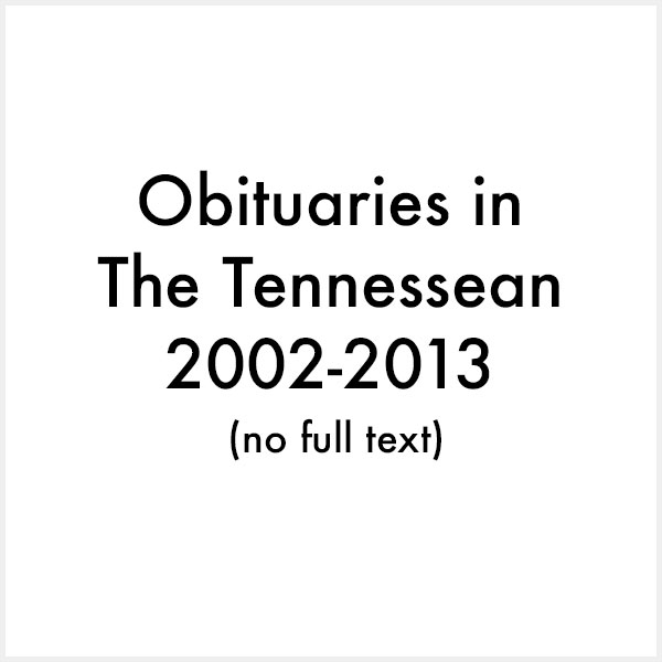 obituaries in the tennessean 2002 2013
