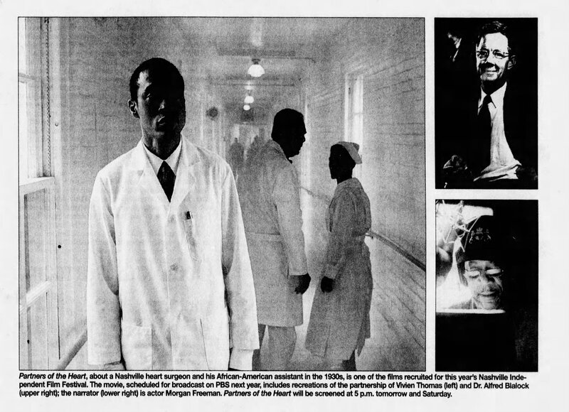 newspaper clipping about release of documentary Partners of the Heart with a photoof Vivien Thomas