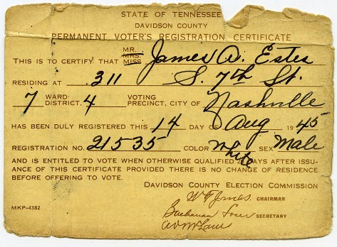 James Estes' voter registration card, 1945