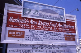 Sign advertising the construction of the Municipal Auditorium