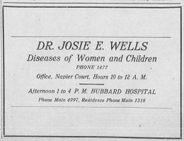 Ad from the Nashville Globe newspaper for Dr. Josie E. Wells